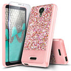 For AT&T Radiant Core / Wiko Ride Case Glitter Bling Phone Cover +Tempered Glass