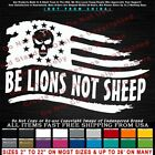 - Be Lions Not Sheep Tattered Flag Stars Left Wicked Man In Center Sticker Decal
