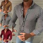 Mens Long Sleeve Shirt Slim Striped Printed T-shirt Casual Blouse Shirts Tops