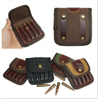 Leather Canvas Rifle Ammo Carry Pouch Bullets Wallet for Hunting Waist Bag