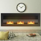 Bio Ethanol Fireplace Insert Wall Fire 2/3 Burner Steel Glass Clean Living Room