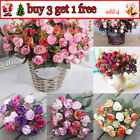 21head Artificial Plastic Rose Silk Flower Wedding Bouquet Office Home Decor Au