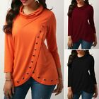 Womens Casual Cotton Blends Long Sleeve Solid Color Loose Holes Tops Blouse S-XL