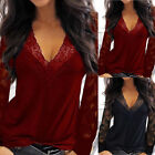 Women's Sexy Deep V-neck Lace Pullover Long Sleeve Clubwear Shirt Blouse Tops
