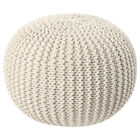 20 x 12in Round Pouf Ottoman Hand-Knit Cotton Braided Cord Bean Bag Foot Rest