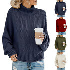 Women Turtleneck Chunky Knitted Sweater Winter Oversize Jumper Pullover Knit Top