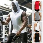 Male Tops Men's Vest Solid Fashion Athletic Tops Vest Hooded Bodybuilding