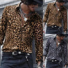 New Men Fashion Nightclub Casual Leopard Print Long Sleeve Slim Blouse Shirt Top