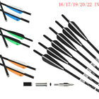 12PK 16/17/19/20/22'' Crossbow Bolts Carbon Hunting Arrows With 4'' Vanes 8.8mm