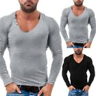 Sports Men's tops Sweatshirt T-shirt Tops Blouse V Neck Warm Gym Long sleeve