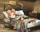 Old Couple Hugging In Bed Love Artwork Paint By Numbers Kit DIY Painting