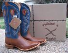 NEW Men's TWISTED X Ruff Stock Brown Blue Leather Western Cowboy Boots MRSL042
