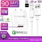 18W Fast Wall Charger Cube USB cable For iphone X,XS,11,12,Samsung Galaxy S10[Q3