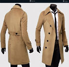 Winter Mens Peacoat Trench Coats Slim Fit Overcoat Long Jacket Casual Outwear