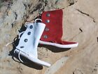 MEN's Dark Red or White 4 BUTTON THICK SOLE MOCCASINS