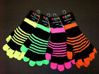 Ladies Girls Neon 2 in 1 Striped Magic Gloves One size Acrylic