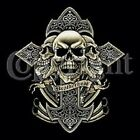 SKULLS CROSS BROTHERHOOD BIKER MEN'S HOODIE HANES BLACK