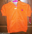CARTER'S GIRLS LET'S PLAY~ORANGE TERRY CLOTH HOODIE NWT