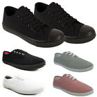 New WOMENS Canvas Lace Up Flat PUMPS Trainers Sz UK 3-8