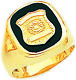 Mens 10k or 14k Yellow Gold Police Officer Badge Solid Back Ring