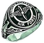 New Men's 0.925 Sterling Silver US Air Force USAF Military Solid Back Ring