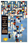 "Vintage Travel Art - New England Is Vacationland -   24""x36"" Art on Canvas"