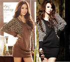 New Fashion Womens O-Neck Leopard Hot Chip Long-sleeved Lady Dress 6458#