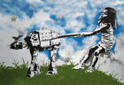 "Eelus-Star Wars Girl walking  24""x36"" - Bristol England Urban Street Art -Banksy"