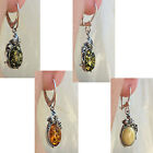 WHITE, HONEY or GREEN AMBER STERLING SILVER LEAF EURO HOOK or LEVERBACK EARRINGS