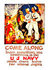 "Come Along Join the Navy - 20""x32"" Military Recruiting Poster on Canvas"