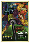 "Chicago- Worlds Fair  c.1934 - 24""x36""  Vintage Travel Poster on Canvas"