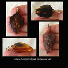 BALTIC AMBER & STERLING SILVER HANDMADE LEAF SHAPED PENDANT Select