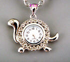 Silver Retro Eames Chic Pendant Necklace Ladies Enamel Crystal Watch LTD Edition