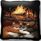 All Burned Out Kitty Cats by Fireplace Art Tapestry Pillow Jacquard Woven Cotton