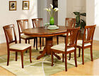 5PC AVON OVAL DINETTE KITCHEN DINING ROOM TABLE WITH 4 UPHOLSTERY CHAIRS BROWN
