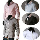 NWT Mens Casual Slim fit Luxury Stylish Formal Dress Shirts Tops FREE SHIP