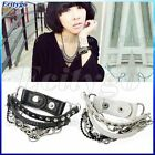 Punk Cool Multi-tier Leather Stud Chain Bangle Wristband Bracelet