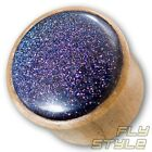 6-30mm HOLZ FLESH PLUG BLAUFLUSS OHR PIERCING WOOD TUNNEL GOLD STONE GLITTER EAR