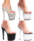 SEXY PLATFORM STILETTO POLE DANCING SLIP ON HEELS MULES SANDALS SHOES SIZE 3-11