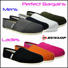 Mens Women Ladies Flats Slip-on Canvas Trainers Plimsolls Pumps Espadrilles UK