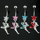 CZ Crystal Gem Star w/Fairy Dangle Belly Bar 14ga (1.6mm ) Bar Length 10mm