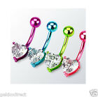 Heart Neon Titanium Anodised over Surgical Steel Belly Bar - Body Piercing