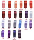 """5y-100y 25mm 1"""" Red Coral Burgundy Purple Lilac Double Sided Satin Ribbon Eco"""