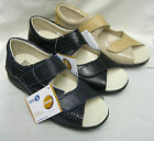 Ladies Easy b Bliss Variable fitting Beige/Navy or Black leather velcro sandals.