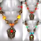 Ethnic Ossie Tribal Retro Kuchi African Enamel Silver Chunky Statement Necklace
