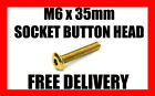 M6 x 35mm SOCKET BUTTON HEX BOLT ALLEN HEAD BOLTS GOLD ZINC VARIOUS QUANTITIES
