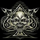 TRIBAL SPADE SKULL BIKER T SHIRT CHEST LOGO M TO 6XL