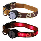 Peace Sign Lighted LED Pet Dog Collar - Steady Glow or Flashing Lights