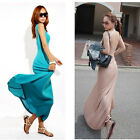2012 Women Stretch Cotton Maxi Slim Sexy Backless Sundress Long Dress 3 Colors