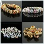 Czech Crystal Silver Gold Spacer Large Hole Charms Beads Fit European Bracelets